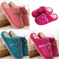 Bow-Embellished Anti-Slip Indoor Puffer Slippers