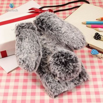 Okatech Rabbit Fur Phone Cases For iPhone 5 5S 6 6S Plus Case For iphone 7 7 Plus X Covers Soft TPU Silicon Cute  Phone Covers