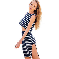 Casual Striped Crop Top And Skirt Two Piece 11635