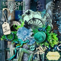 Midnight Wish -  Digital Scrapbook Kit - printable 12x12inch backgrounds -and  FREE QuickPage