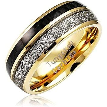 Engraved Personalized Carbon Fiber Meteorite Inlaid Tungsten Rings for Men Gold Wedding Band - 8mm