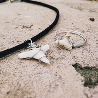 Shark Tooth Necklace and Ring Set