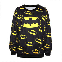 Harajuku 2014 New Punk Women Batman Sweatshirt 3D Floral Print Heart Breaker Printed Casual Hoodies = 1927948292