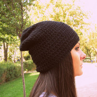 Black crochet hat,handmade hat,slouch hat,beanie,woman hat,man hat,winter hat,cloche,slouchy beanie,