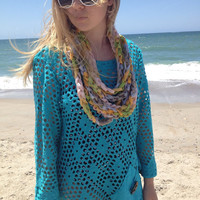 April Showers Crochet Summer Infinity Chain Scarf, Fashion Scarf, Summer Scarf