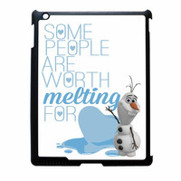 Olaf Quote Melting The Disney Frozen Pink Blue Chevron iPad 2 Case