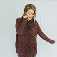 Cowl Neck Sweater in Plum
