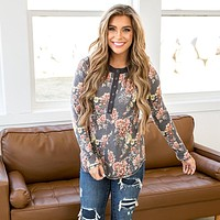 Vanessa Navy Floral Snap Button Top