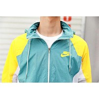 NIKE Fashion New Letter Hook Print Contrast Color Hooded Long Sleeve Men Women Windbreaker Coat