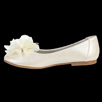 Rhinestone Center Flower on Ivory Dress Shoes Flats (Toddler or Girls Sizes)