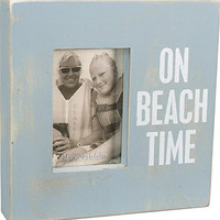On Beach Time - Weathered Beach Box Photo Frame 10-in Aqua for 4x6-in Photos