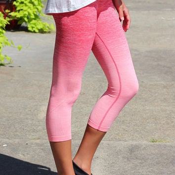 Ombre Cropped Yoga Capris {Coral}