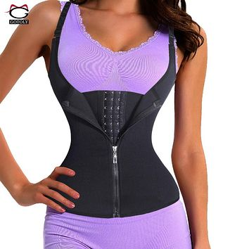 Adjustable Shoulder Strap Waist Trainer Vest Corset Women Zipper Hook Body Shaper Waist Cincher Tummy Control Slimming Shapewear