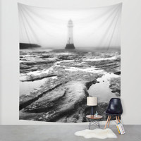 Lighthouse wall art, photo tapestry, large wall hanging, black and white decor, home decor, large wall art, moody decor, oversized art