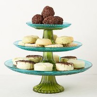 Color Blocked Cake Stand by Anthropologie Blue Motif