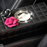 Flower Car Tissue Paper Box Holder Car Accessories for Women Black, white, pink and Purple Color