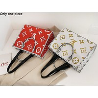 LV fashion casual lady shopping bag hot seller with printed patchwork shoulder bag