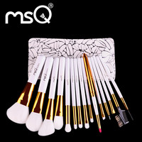 MSQ Makeup Brushes Set Professional 15pcs Soft Synthetic Hair Natural Wood Handle Make Up Brush Kit With PU Leather Case