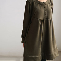 Loose doll cotton knee length dress gown