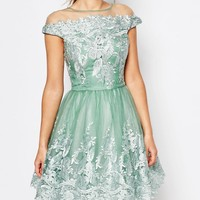 Chi Chi London Off Shoulder Mini Prom Dress with Embroidered Lace