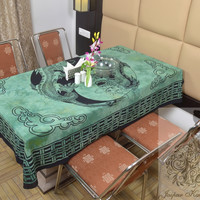 Indian Cotton Table Cloth Teal Color Dragon Print Table Cover Tapestry Wall Hanging TC53