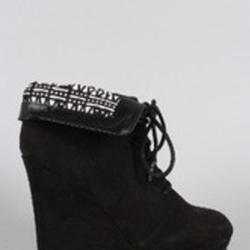 Women's Qupid Suede Tribal Collar Round Toe Lace Up Wedge Booties
