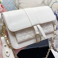 Dior New fashion leather chain shoulder bag crossbody bag White