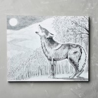 Wolf Drawing Canvas Art