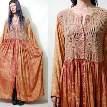 90s Vintage CROCHET Babydoll DRESS Sheer Button down Long Sleeve Maxi Hippie Boho Bohemian Grunge Gypsy Orange 1990s vtg L