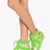 Neon Colors Lime Green Woman's Fashion Tennis Shoes