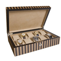 Rapport London Tan and Black Wooden Watch Collector Box