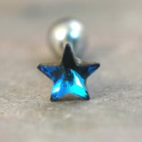 Dark Blue Crystal Star Triple Helix Stud Cartilage Earring