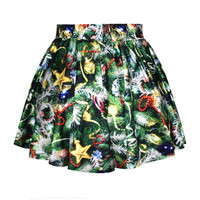 Green Christmas Tree Decoration Print Bubble Skirt