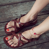 Leather sandal brown leather jesus sandal for man and woman holy land sandals