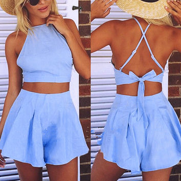 Blue Crop Top and Shorts