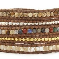 5 layer Handmade Leather Wrap Bracelet Multi Mix Semi Precious Stones, Jade, Mother of Pearl and silver and gold nugget mix on natural brown leather