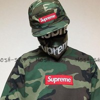 SUPREME camouflage men and women with a hoodie collar shirt pullover Tagre™
