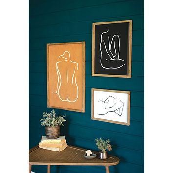 Set Of 3 Framed Nude Prints Under Glass