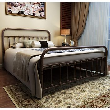 Metal Bed Frame Queen Size Headboard and Footboard The Country Style Iron-Art Double Bed The Metal Structure, Antique Bronze Brown Baking Paint.Sturdy Metal Frame Premium Steel Slat Suppot Antique Brown