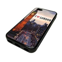 For Apple iPhone 5C 5 C Case Cover Skin Hipster I Love London England One Direction City Travel Quotes Teen DESIGN BLACK RUBBER SILICONE Teen Gift Vintage Hipster Fashion Design Art Print Cell Phone Accessories