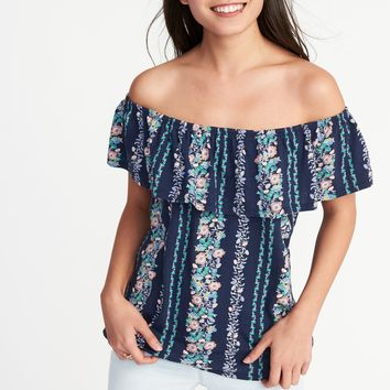 Ruffled Off-the-Shoulder Swing Top for Women|old-navy