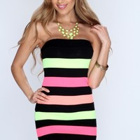 Black Multi Horizontal Stripe Strapless Party Dress