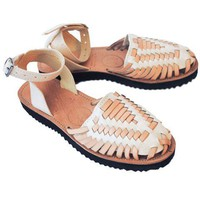 Women's Beige Strapped Woven Leather Huarache Sandals