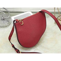 """DIOR"" Women's retro simple large capacity multi-function saddle bag Messenger bag bucket bag 2#"