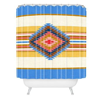 Bianca Green Fiesta Blue Shower Curtain