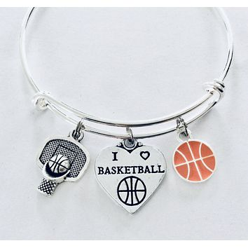 I Love Basketball Jewelry Expandable Silver Charm Bracelet Adjustable Wire Bangle One Size Fits All Gift Trendy Basketball Hoop