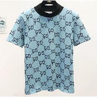 GUCCI New fashion more letter women top t-shirt Blue