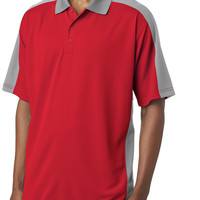 ultraclub(R) adult cool & dry stain-release 2-tone performance polo - red / silver (2xl)