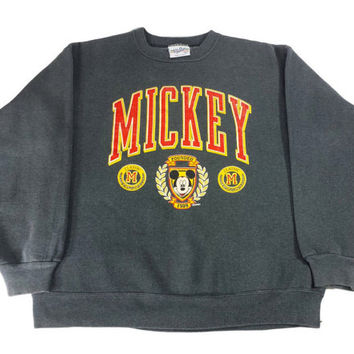 90s Mickey Mouse Sweatshirt Double Sided Graphics Vintage Disney Velva Sheen Sweater Heather Gray Retro Pullover Cartoon Crewneck Jumper