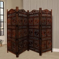 "71"" 4-Panel Hand Carved Sun and Mood Room Divider Screen, Brown By Benzara"